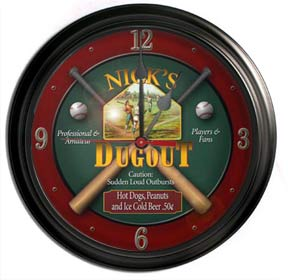 Personalized Bar Clock- Dugout