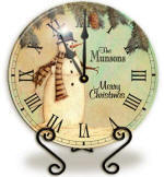Personalized snow man Clock
