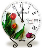 Personalized glass spring tulips Clock
