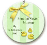 personalized Green Ducky ornament