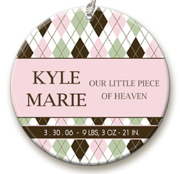 personalized Pink Argyle ornament