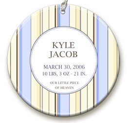 personalized Blue Stripe ornament