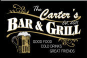 Personalized black bar and grill sign
