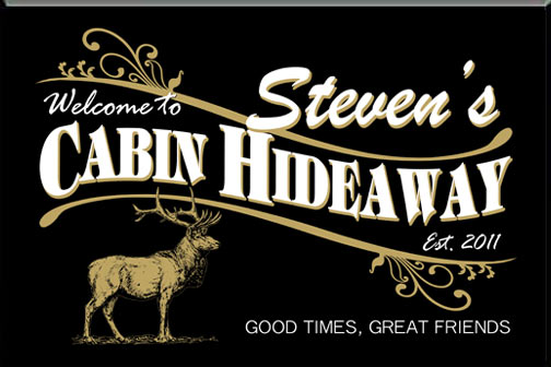 Personalized black cabin hideaway elk sign