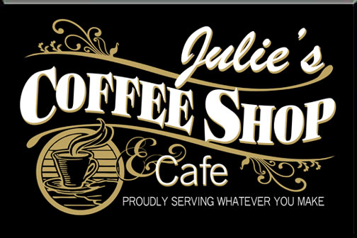 Personalized Black Coffee Shop Sign
