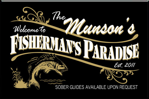 Personalized Black Fisherman's Paradise Bar Sign
