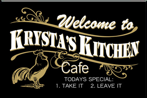 Personalized Black Kitchen Diner Sign