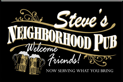 Personalized Black Neighborhood Bar Sign