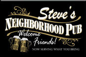 Personalized Black Neighborhood Pub