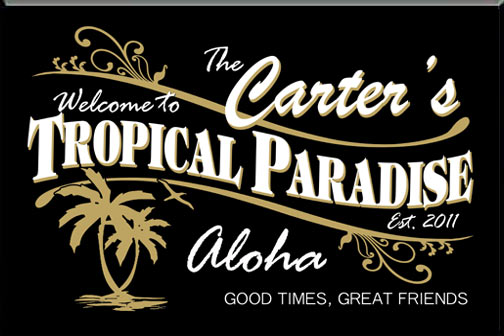 Personalized Black Tropical Tiki  Bar Sign