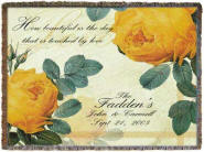personalized roses woven blanket