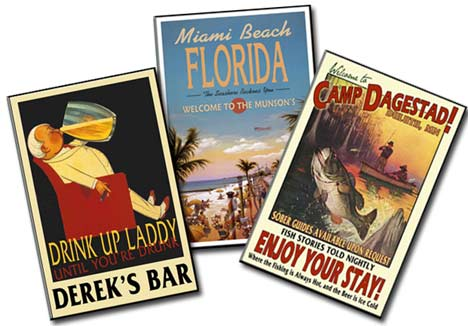 Personalized vintage style pub signs, bar signs