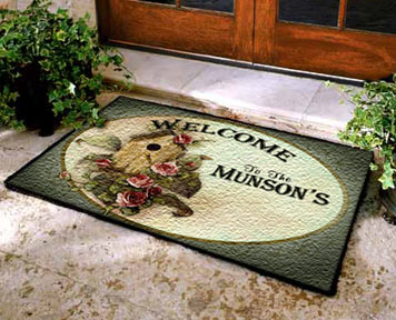 personalized welcome mats, custom welcome mats, housewarming gifts, personalized rug,